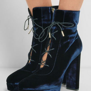 Jimmy Choo - Deon lace-up velvet platform ankle boots