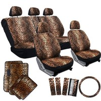 OxGord 17pc Cheetah Seat Cover Carpet Floor Mat Set for Car/Truck/Van/SUV, Orange Brown