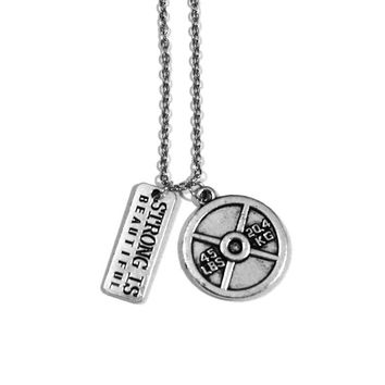 Strong Is Beautiful + 45lb Plate Charm Necklace - Weightlifting Exercise Crossfit Fitness Charm Lifting Kettlebell Pendant Handmade Gift