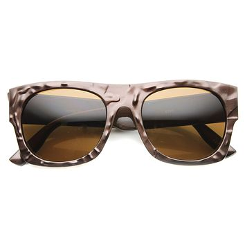 Unique Flat Top Textured Sunglasses 9865