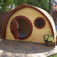Hobbit Hole Playhouse Kit WITH live edge cedar plank roofing: outdoor wooden kids playhouse with round front door and windows, made to order