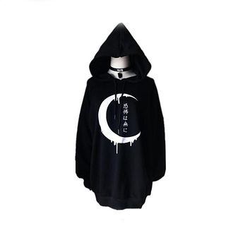 High Quality Oversize Gothic Women Hoodies Long Sleeve Japanese Moon Print Pullover Loose Hoody Black Winter Autumn