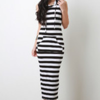 Women's Black And White Striped Hooded Maxi Dress In Plus Sizes