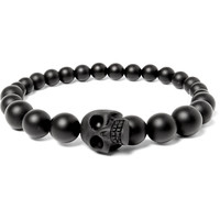 Alexander McQueen - Resin and Onyx Beaded Skull Bracelet