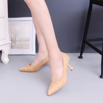 Women's Pumps Closed Toe Heels Low Heel Suede Shoes