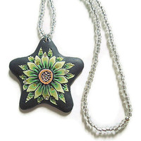 Polymer clay pendant necklace  with seed beads and star green black flower and rhinestones