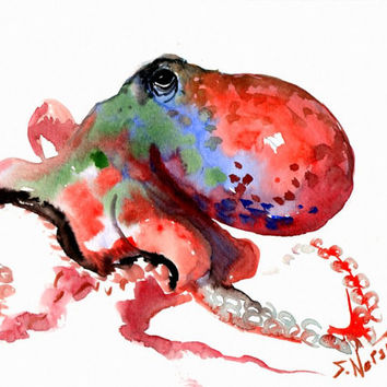 Octopus Rainbow Colors, Original watercolor painting, 12 X 9 in, red, blue green wall art, sea animal art, sea world, nautical
