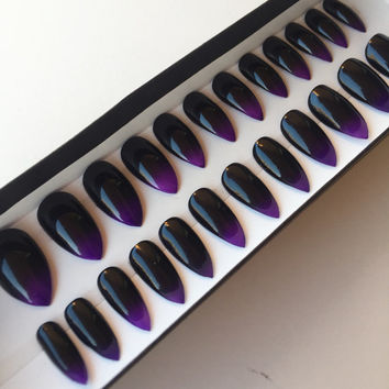Black & Purple Ombre Stiletto Press On Nails | Fake Nails | False Nails | Witchy Nails | Ombre Nail Art Design | Glue On Nails
