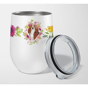 Basset Hound Pink Flowers Stainless Steel 12 oz Stemless Wine Glass CK4266TBL12