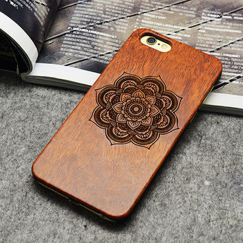 Retro Flower Pattern Real Handmade Wood Case For Iphone 5 5s 6 6s 6 plus Wood Carving Case + PC ,free shipping