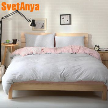 Svetanya soft knitted Cotton Bed Linens Gray Pink Stripes Print Bedding Set (Pillowcase flat or fitted Sheet Duvet Cover )