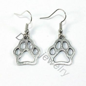 Tibet Silver Metal Hollow Paw Earring Fit for Dog Cat Bear Paw Print Pet Jewelry Lover