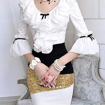 Womens Sequin Skirt - Black / Gold / White / Knee Length