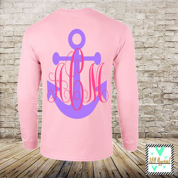 Anchor Monogram Unisex Long Sleeve - Monogram Shirt - Custom - Wedding Gift - Christmas - Gift - Monogram