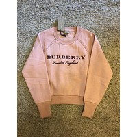 Burberry Fashion Embroidery Logo Pink Pullover Sweater F