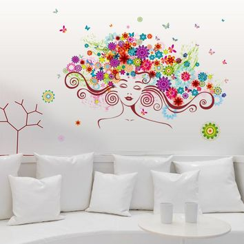 Woman Flower DIY Vinyl Wall Stickers butterfly bedroom Rooms Home Decor Art Decals 3D Wallpaper decoration adesivo de parede