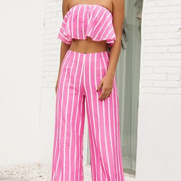 Miami Lover Pink White Vertical Stripe Pattern Strapless Ruffle Crop Top High Waist Wide Leg Loose Pant Jumpsuit Two-Piece Set