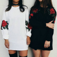 Women Casual Embroidery Flower Round Neck Long Sleeve Sweater Tops