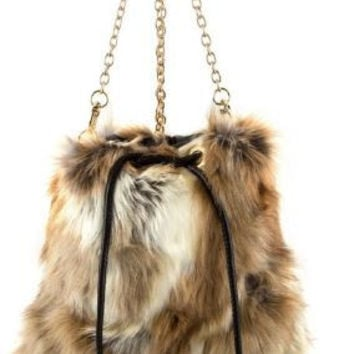 Drawstring faux fur