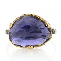 Danielle Welmond | Asymmetrical Iolite Prong Ring at Voiage Jewelry