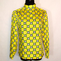 60s Mod Blouse, Vintage Yellow Leiter's Fabric Turtleneck with Tile Print and Zippered Back Size M Medium