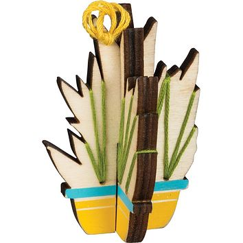 Pipe Cactus With Flower Stitched Stand-up Wooden Display