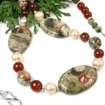 Nature Inspired Gemstone Necklace, Carnelian, Green Rhyolite Peacock Jasper, Freshwater Pearls, Sterling Silver, Handmade Beaded Jewelry