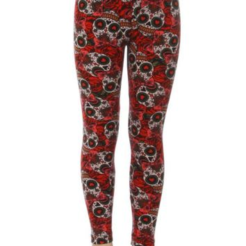 Girls Skull Leggings Day of the Dead Red/Black: S/L