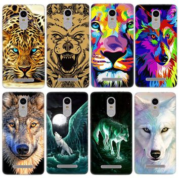 African Leopard Tiger Wolf Animal Pattern Phone Cases For Xiaomi Redmi 3 Mi5 Mi Max Redmi Note 3 Note 4 Housing Back Cover Capa