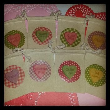 Valentine Set of 8 Candy Conversation Heart 4x6 Muslin Treat Favor Gift Bags: Be Mine,