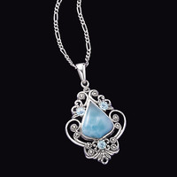 Larimar Topaz and Marcasite Pendant - New Age, Spiritual Gifts, Yoga, Wicca, Gothic, Reiki, Celtic, Crystal, Tarot at Pyramid Collection
