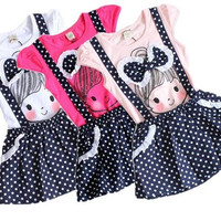 Baby Girls Kids Polka Dot One-pieces Dress Skirt Child Summer Dress Clothes 2-6T = 1958182788