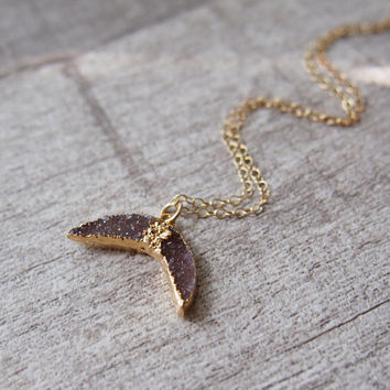 Fish Tail Agate Druzy Gold Necklace Gemstone Drusy Stone Necklace Gold Necklace