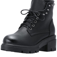Black Lace Up Studded PU Boots -SheIn(Sheinside)