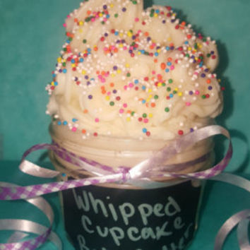 Whipped cupcake scented body butter- all natural dry skin vanilla cupcake body lotion- moisturizing body butter- tester size