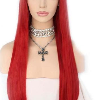 Kirsten- Handtied High Temperature Fiber Red Heat Resistant Synthetic Lace Front wig