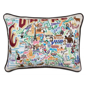 Europe Hand Embroidered Pillow