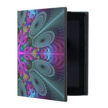 Mandala from the Center Colorful Fractal Art iPad Cover