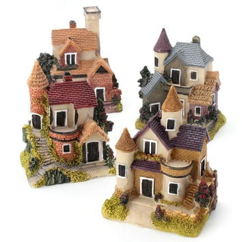 Cute Mini Resin House Miniature House Fairy Garden