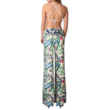 Women Long Pants Stretch Palazzo Trousers Loose High Waist Wide Leg