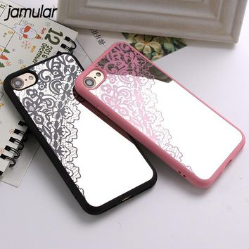 JAMULAR Sexy Lace Silicone Mirror Phone Cases for iPhone 8 7 Plus 6 6S Plus Rubber Coque Cover for iPhone 7 8 Plus Capa Fundas