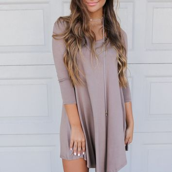 Maybe Baby Taupe V-Neck Quarter Sleeve