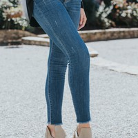 High Rise Girlfriend Jeans, Medium Dark