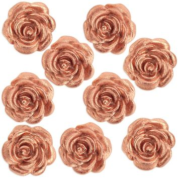 Metallic Rose Gold Fondant Tea Roses