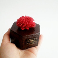 Engagement ring box,  dark brown with red sola, proposal box, wooden ring box