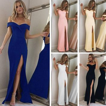 New Summer Elegant Women Sexy Evening Party Black Blue Long Dress Slim Cotton Maxi Dress Robe Longue Femme Vestido De Festa