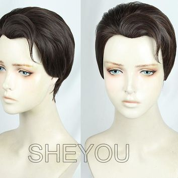 Cool Anime Detroit Become Human Connor Wig Styled Dark Brown Cosplay Costume Wig + Wig Cap + Track No.AT_93_12