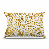"Anneline Sophia ""Squiggles in Gold"" Yellow White Pillow Case"