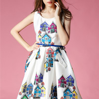 House Vintage Graphic A-Line Pocket Pleated Dress