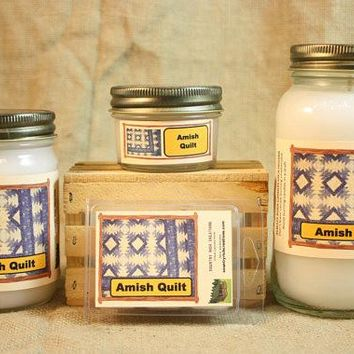 Amish Quilt Scented Candle, Amish Quilt Scented Wax Tarts, 26 oz, 12 oz, 4 oz Jar Candles or 3.5 Clam Shell Wax Melts